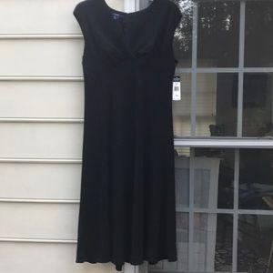 Chaps Beautiful Lined Black Dress-16W NWT